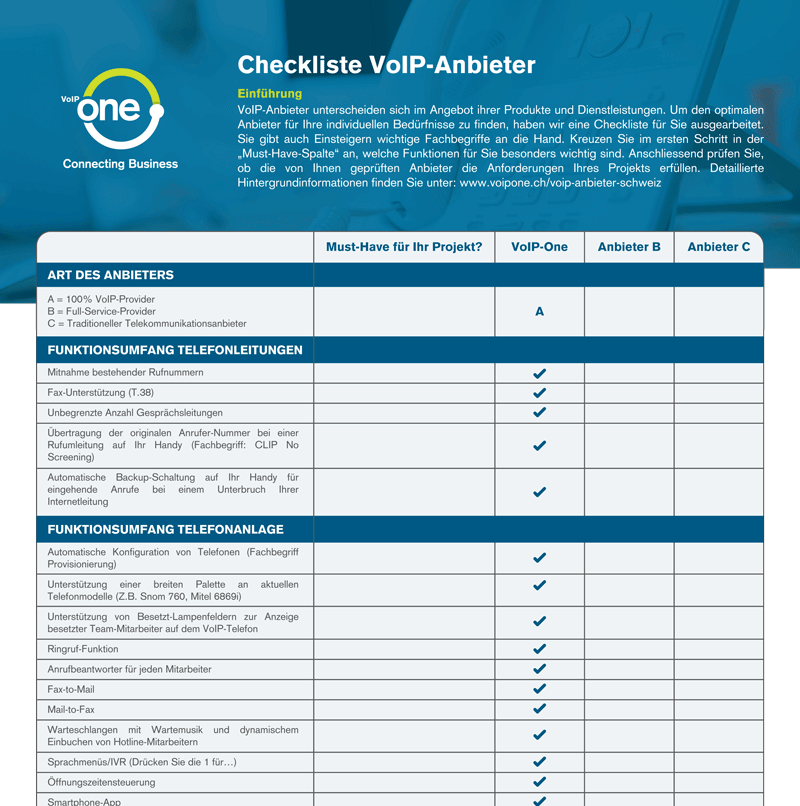 VoIP-Anbieter Checkliste – Gratis Download!