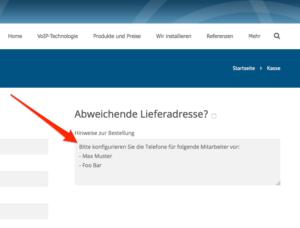 VoIP-One Shop Schweiz - Hinweise zur Bestellung